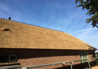 rieten dak met blauwe lucht